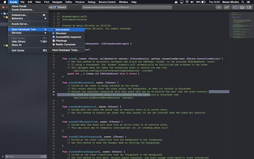 tela mostrando Xcode