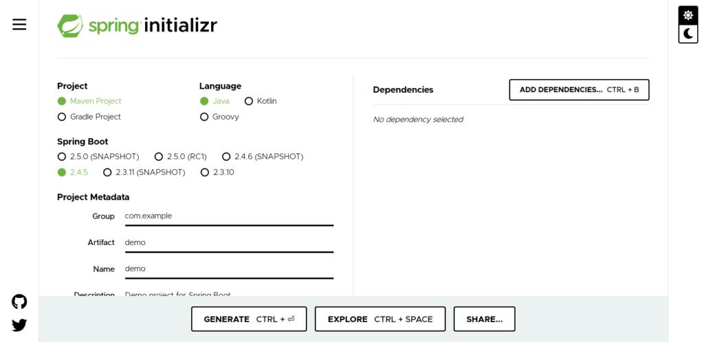 Print screen da página inicial do Spring Initializr.