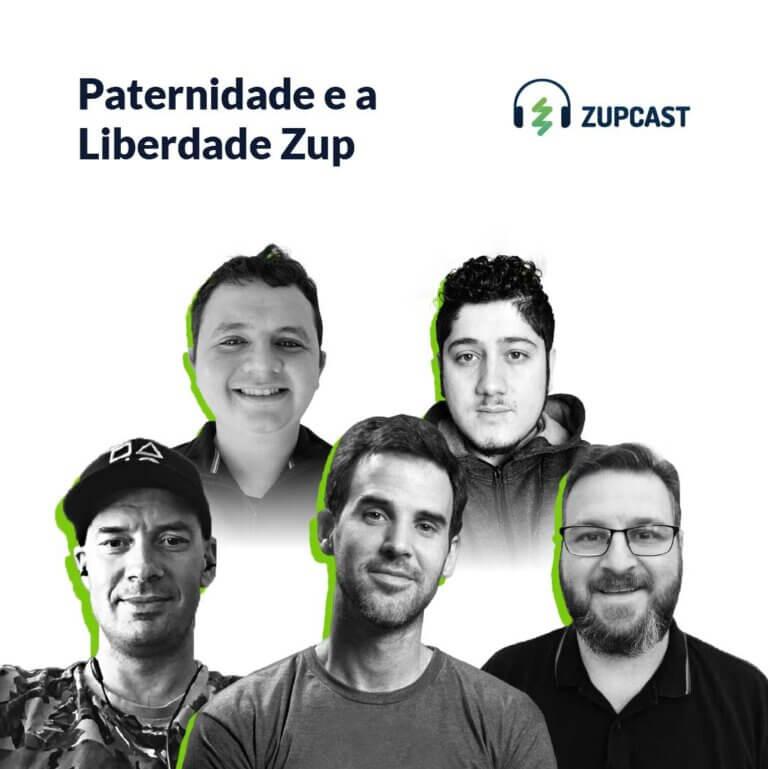 Capa do ZupCast sobre Paternidade e o programa Liberdade da Zup com o rosto dos participantes do projeto.