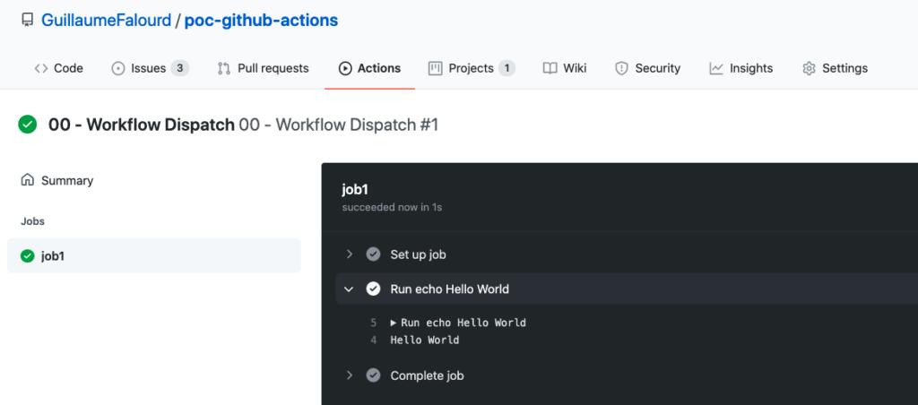 Ilustração da interface gráfica do Github num repositório de POC onde mostra o resultado do acionamento manual do workflow anterior no Github Actions.