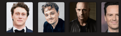 Imagem de uma parte da tela do aplicativo de streaming, mais especificamente a fileira com fotos dos atores que fazem parte do elenco do filme 1917. Nas fotos, aparecem homens brancos, de diferentes idades, a maioria com cabelos curtos na cor castanho escuro.