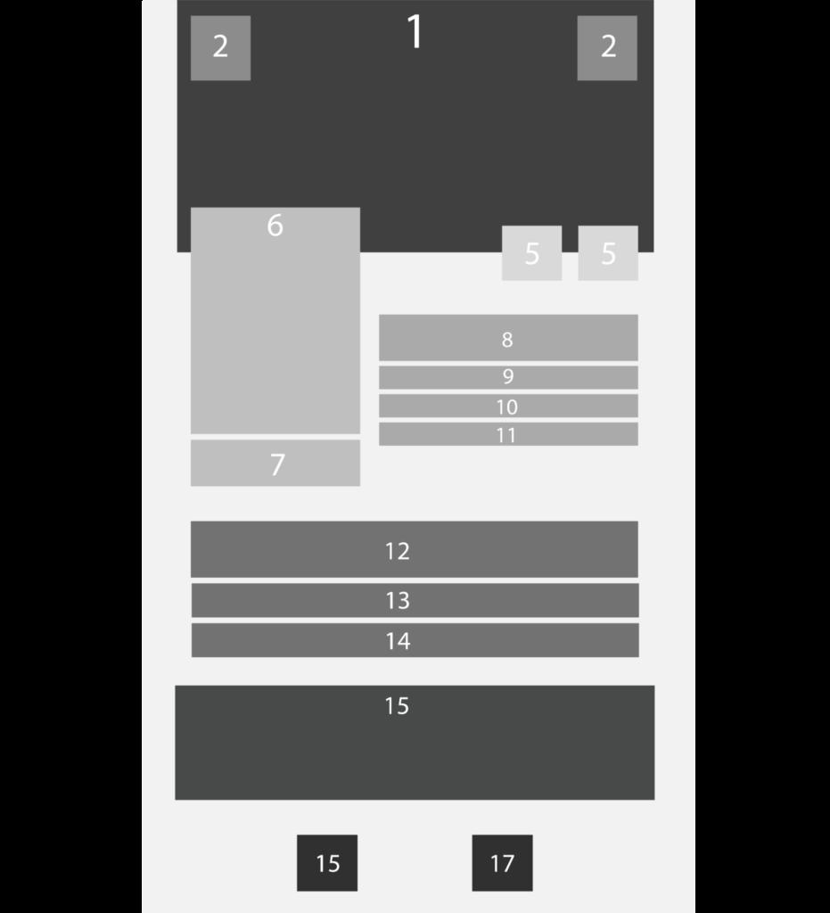 Imagem de uma parte da tela com diversas caixas, numeradas de 1 a 17. Essas caixas simulam os elementos dispostos nos containers  que foram descritos ao longo do artigo para demonstrar que o layout da tela do Beagle Movies neste tutorial pode ser visualizado dessa maneira fragmentada por caixas.