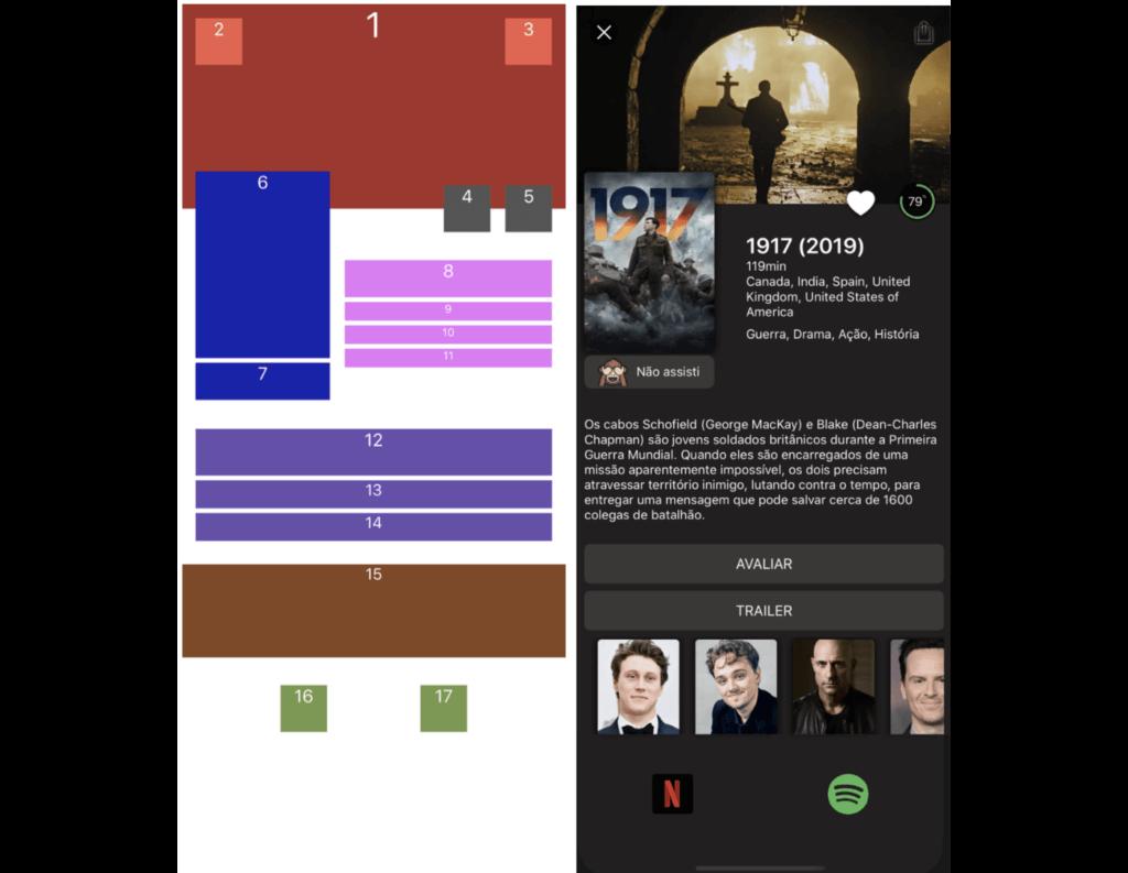 Imagem comparativa: do lado esquerdo, a tela com várias caixas de 1 a 17 e, do lado direito, a tela que simula o aplicativo de streaming construído neste tutorial.