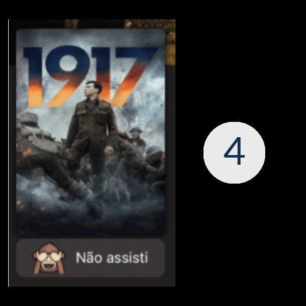 Imagem de uma parte da tela do aplicativo de streaming, mais especificamente o container 4, que mostra apenas o cartaz do filme 1917.