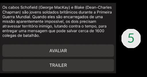 Imagem de uma parte da tela do aplicativo de streaming, mais especificamente o container 6, que mostra um texto com o que seria a sinopse do filme e, logo abaixo, os botões AVALIAR e TRAILER.