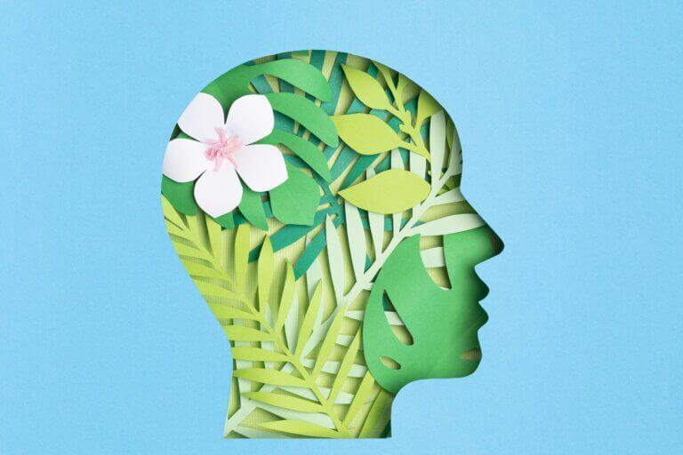 """Capa do artigo 'Sustentabilidade emocional na gestão"""" com a silhueta de uma pessoa em um fundo azul claro. Dentro da silhueta há uma harmonia de folhas e flores, mostrando equilíbrio."""